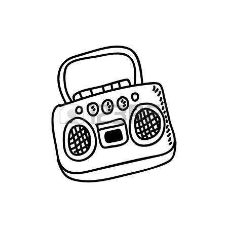 450x450 Radio Retro Style Drawing Vector Illustration Design Royalty Free