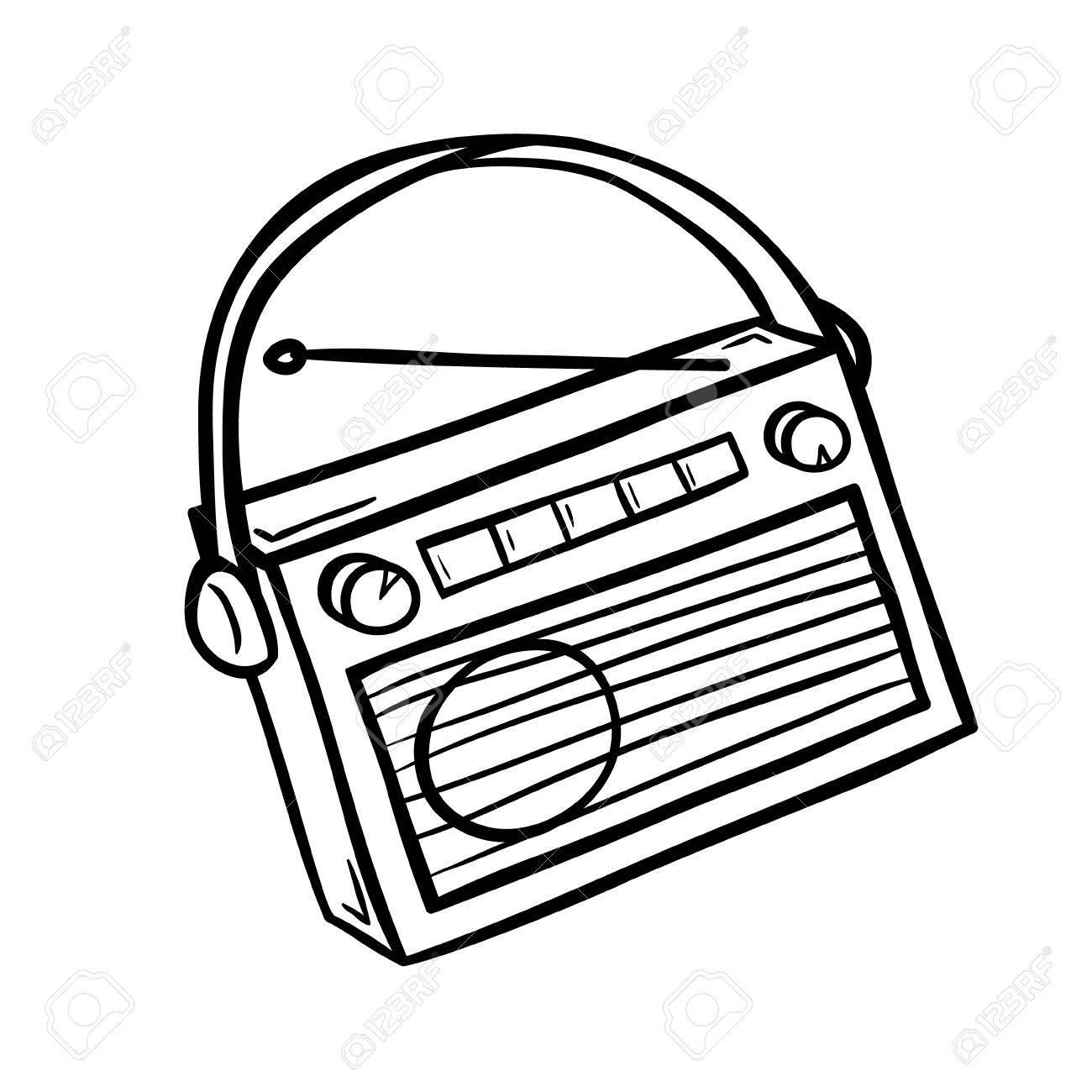 1300x1300 Retro Radio In Doodle Style. Hand Drawn Vector Illustration