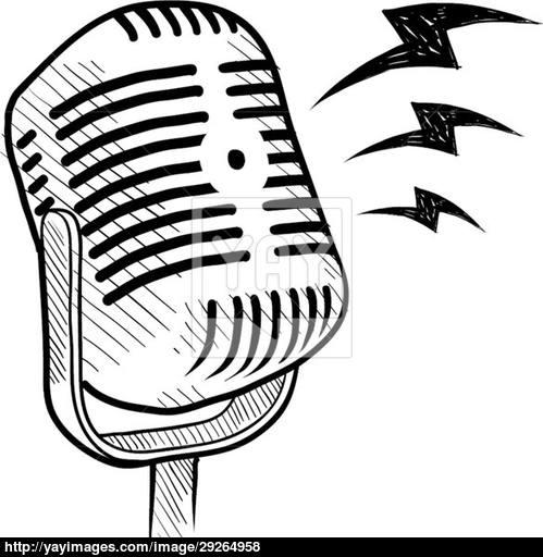 499x512 Retro Radio Microphone Sketch Vector