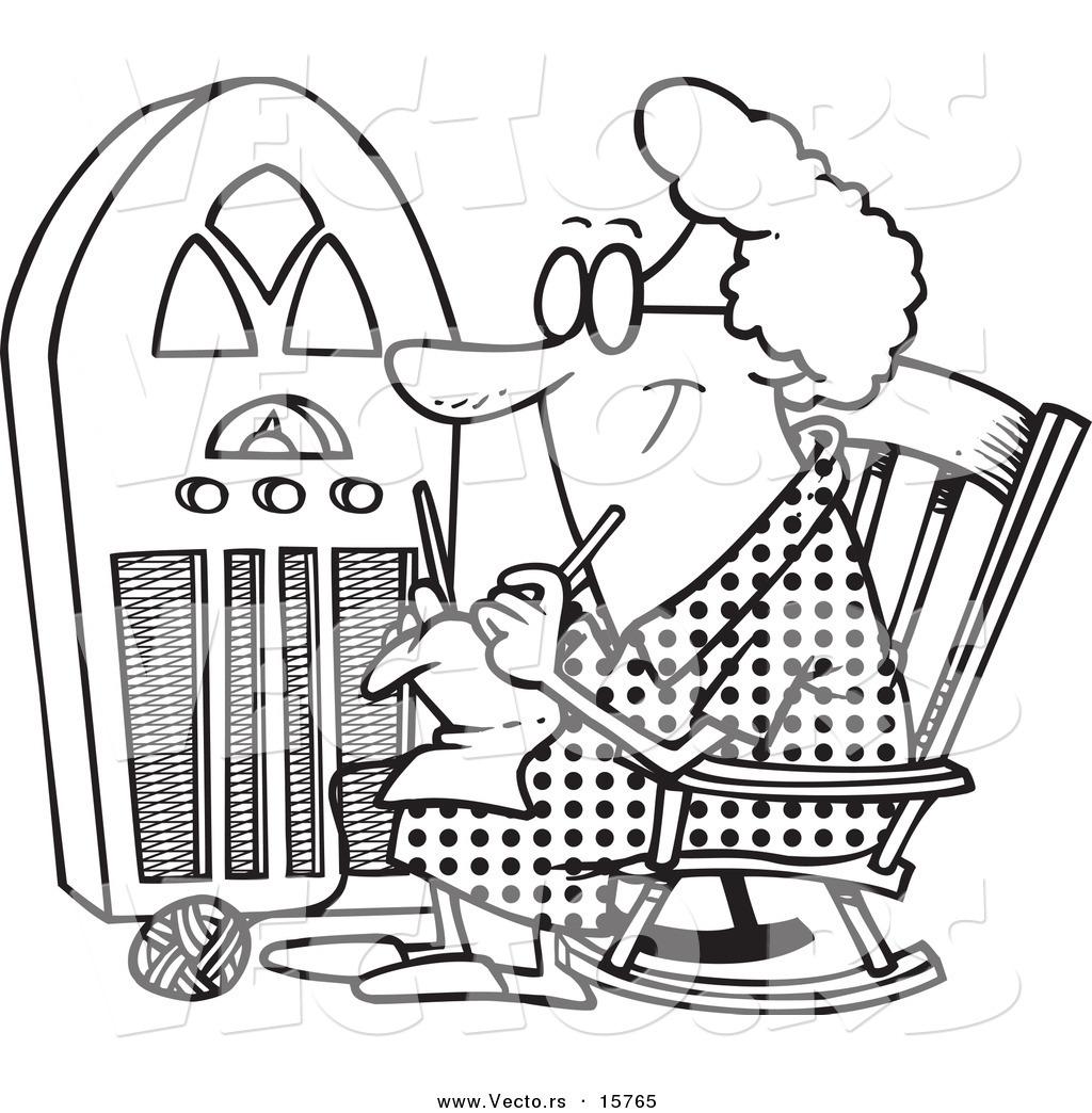 1024x1044 Vector Of A Cartoon Granny Knitting By A Radio
