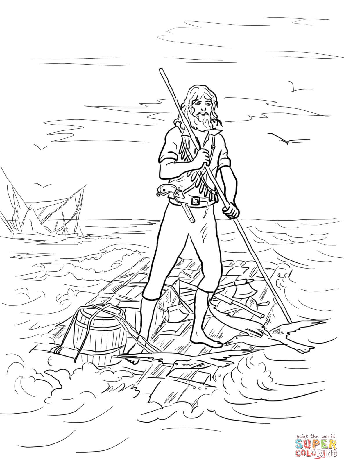1184x1600 Robinson Crusoe On A Raft After Shipwrecked Coloring Page Free