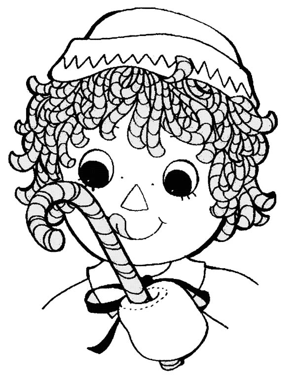 600x771 Raggedy Ann With Sweet Candy Cane In Raggedy Ann And Andy Coloring