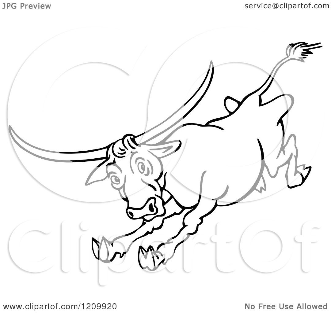 1080x1024 Clipart Of A Black And White Raging Bull