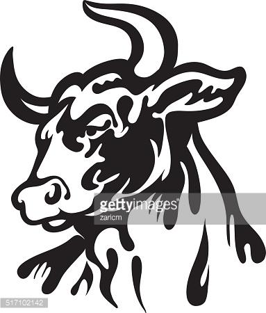 383x450 Drawn Bulls Angry Cow