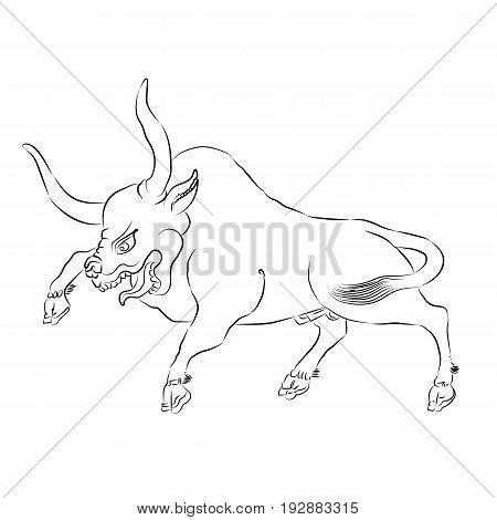 450x470 Enraged Bull Outline Vector Vector Amp Photo Bigstock