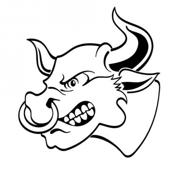 626x626 Angry Bull Head From Lateral View Vector Free Download