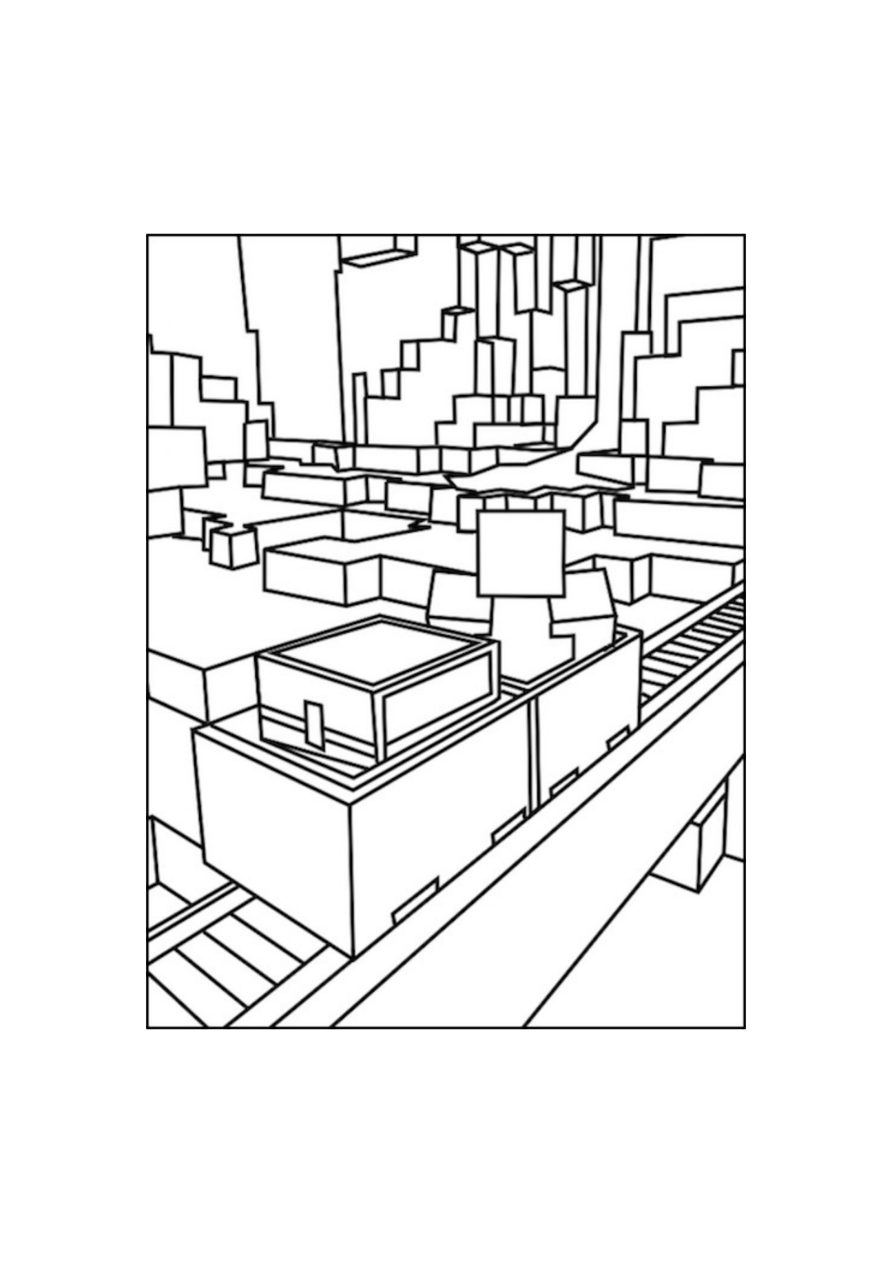 1295x1832 Railroad Minecraft Coloring Pages Free Printable Minecraft