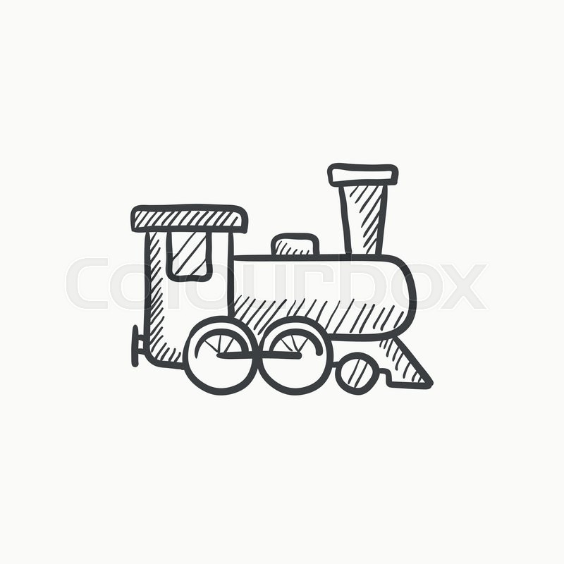 800x800 Train Vector Sketch Icon Isolated On Background. Hand Drawn Train