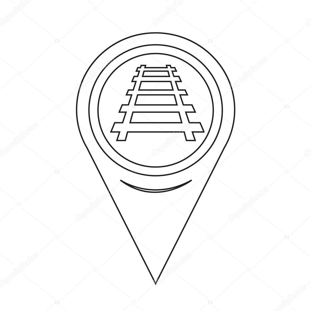 1024x1024 Map Pointer Railway Track Icon Stock Vector Porjai
