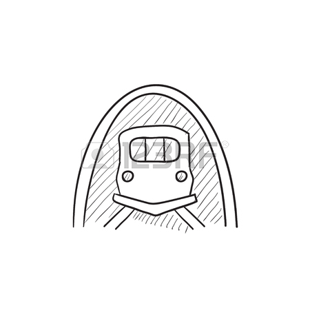 450x450 Railway Tunnel Vector Sketch Icon Isolated On Background. Hand