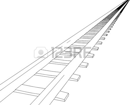 450x363 Vector 2d 3d Railway, Railroad Track Sketch. On White 5 Royalty