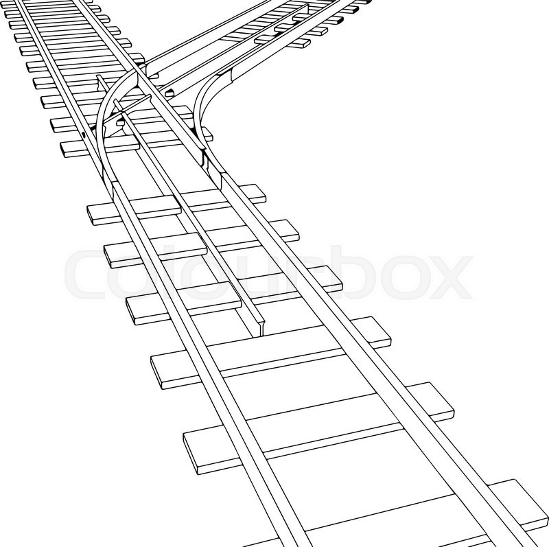 800x797 Vector 2d 3d Railway, Railroad Track Sketch. On White 7 Stock