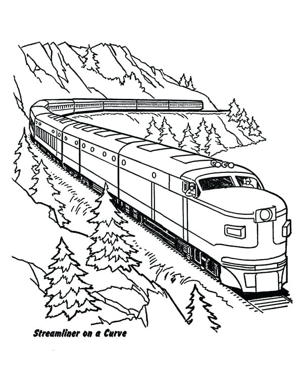 600x734 Remarkable Trains Coloring Pages And Railroads Railroad Train