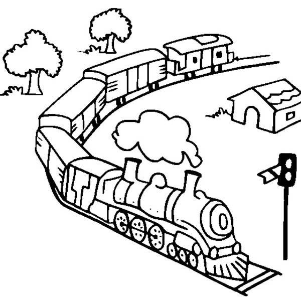 600x600 Toy Train On Railroad Coloring Page Color Luna