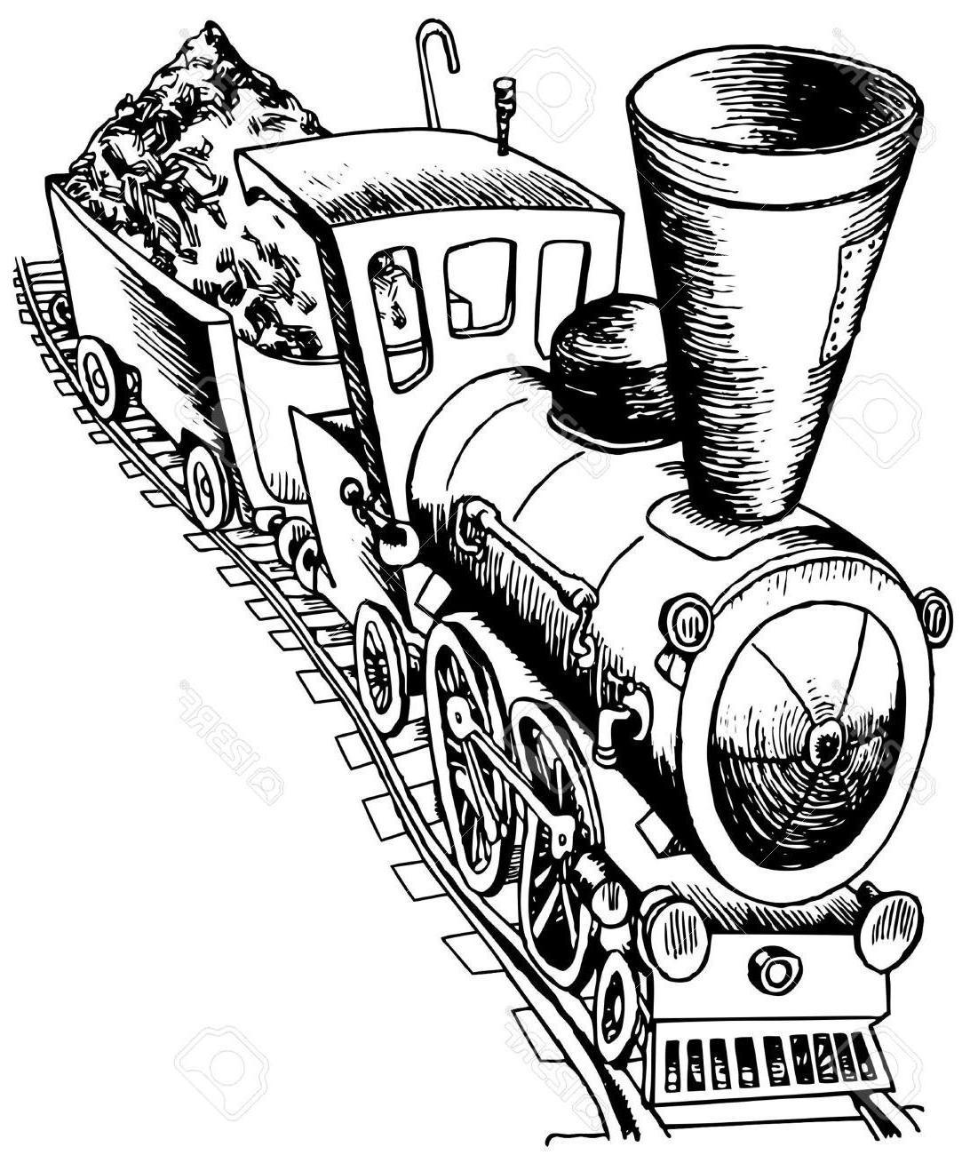 1092x1300 Unique Heavy Railroad Engine Stock Vector Train Cartoon Steam