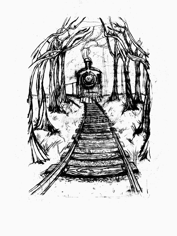 750x1000 Wooden Railway , Pencil Illustration Railroad Train Tracks