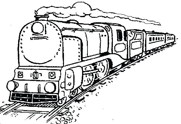 600x412 Coloring Pages Train Amazing Steam Train On Railroad Coloring Page