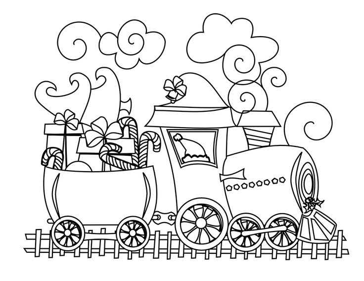 736x568 Drawn Railroad Christmas