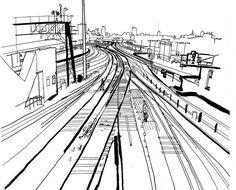 236x190 Japan Metro Train Station Platform In Osaka Drawing Ink Sketch S