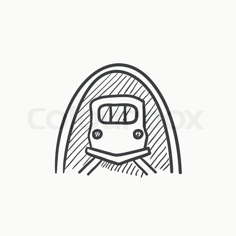 800x800 Railway Tunnel Vector Sketch Icon Isolated On Background. Hand
