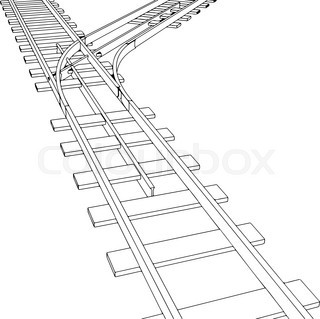 320x319 Vector Curved Endless Train Track. Sketch Of Curved Train Track