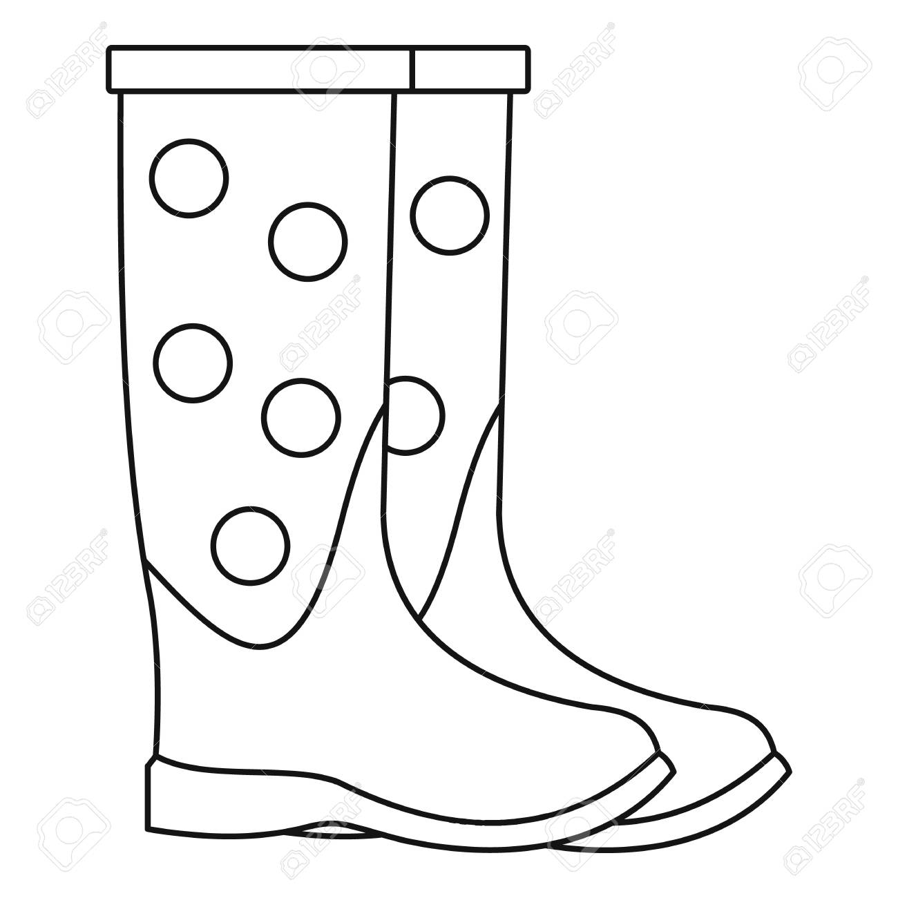 1300x1300 Dotted Rubber Boots Icon. Outline Illustration Of Dotted Rubber
