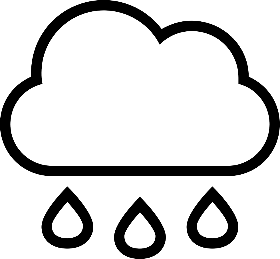 981x908 Rain Cloud With Drops Falling Weather Stroke Interface Symbol Svg