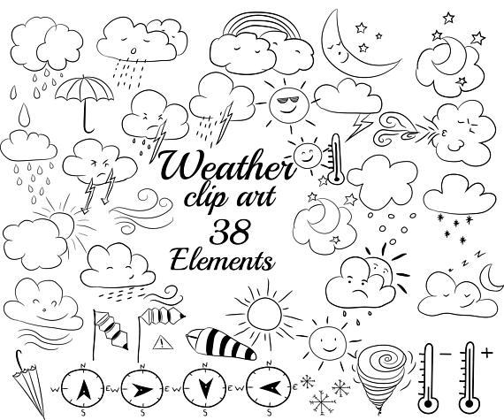 570x475 Weather Doodle Clipart Clouds Clipart Weather Doodles,umbrella