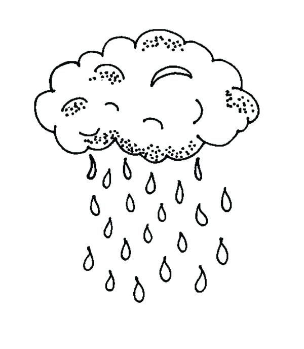 600x688 Cloud Coloring Pages For Raindrop Falls From Black Cloud Coloring