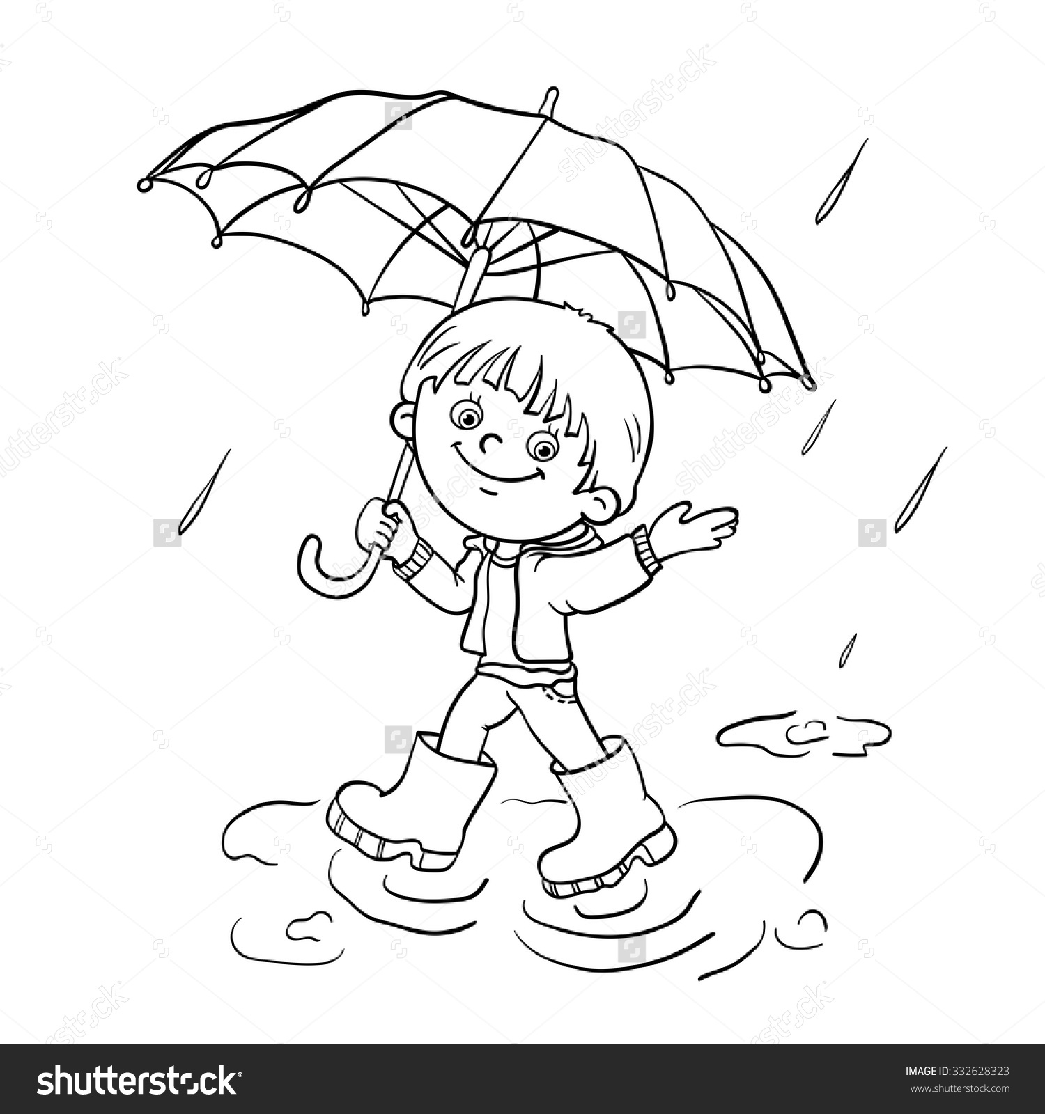 1500x1600 Playing In The Rain Coloring Pages Kids Playing In Rain Drawing