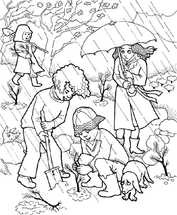 600x726 Kids Doing Gardening Activity In The Rain Coloring Pages Bulk Color