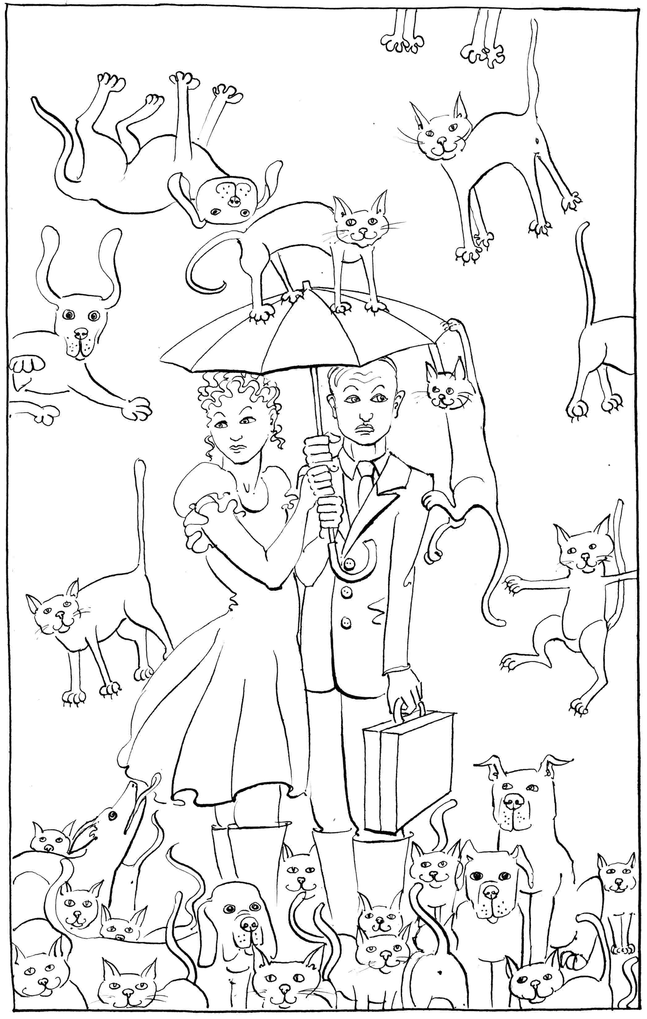 2095x3300 Raining Cats And Dogs Colouring In Drawing Suitable For Children