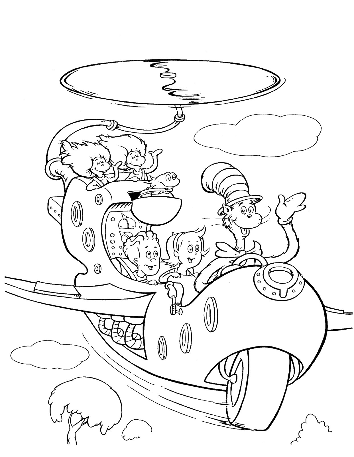 1242x1600 Cat In The Hat Pages On Rain Coloring Page Kids Drawing And