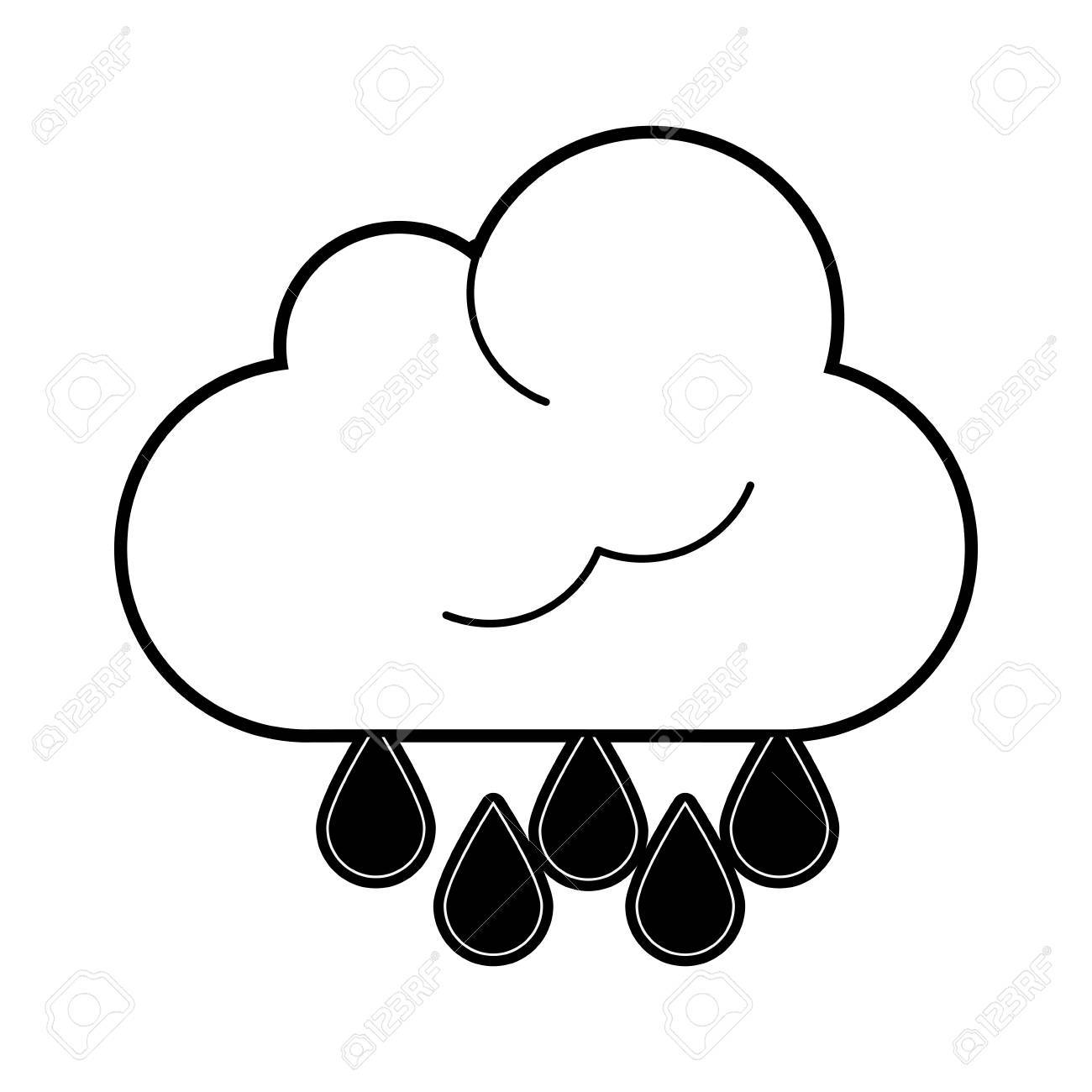 1300x1300 Cloud With Rain Drops Icon Image Vector Illustration Design