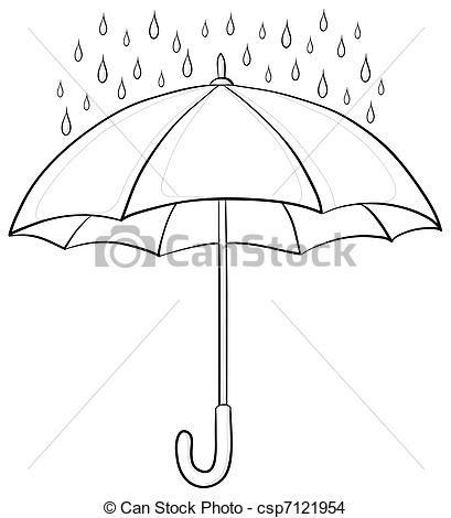 409x470 Elegant Rain Drops Clip Art Drawing Of Umbrella And Rain Contours