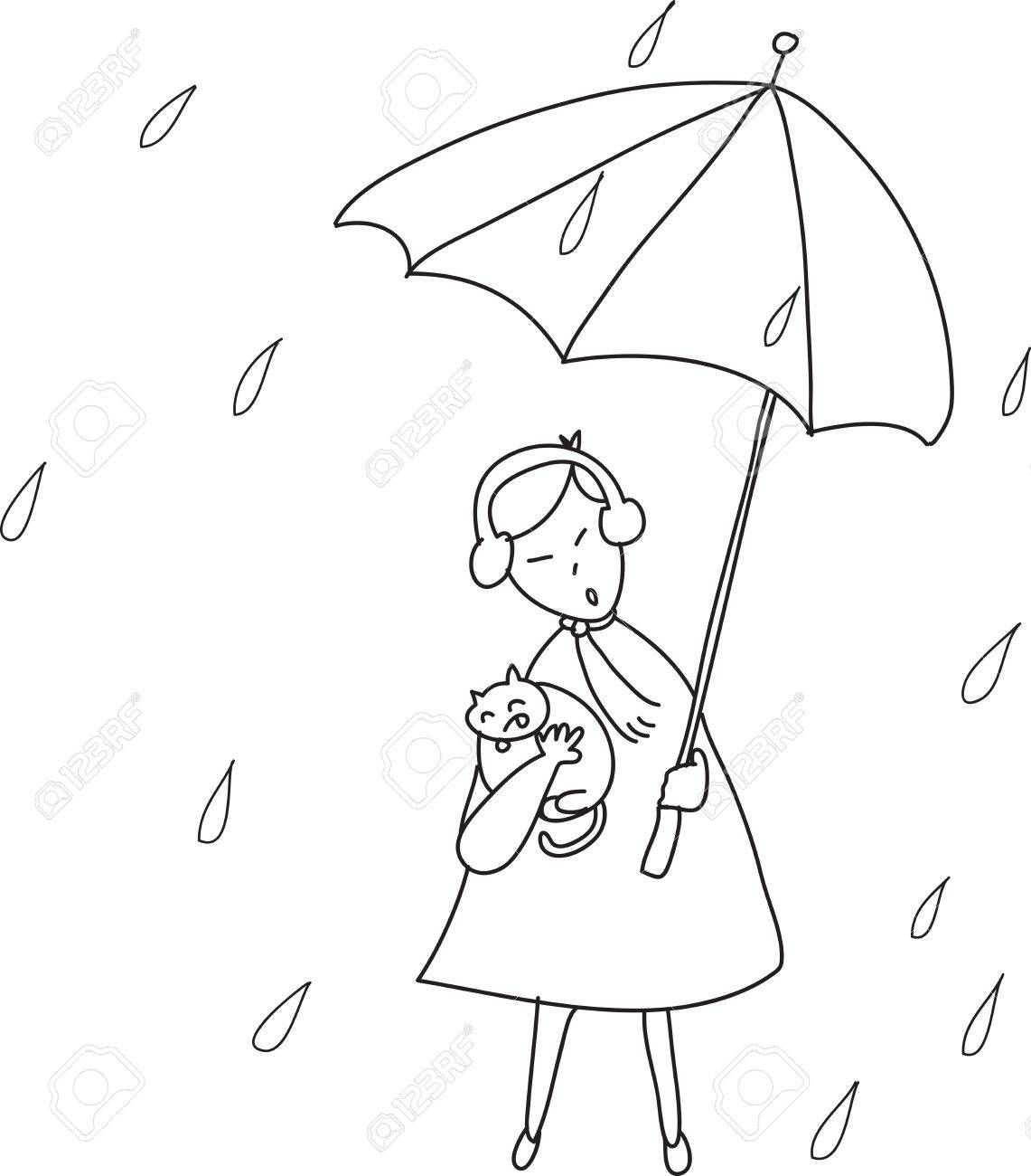 1141x1300 Freehand Sketch Cartoon Girl Relaxing Under The Rain Illustration