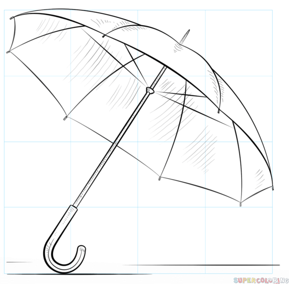585x575 How To Draw An Umbrella Step By Step Drawing Tutorials