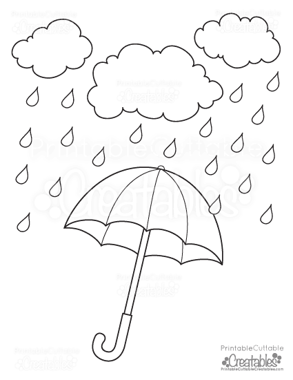 425x550 Rainy Day Umbrella Free Printable Coloring Page