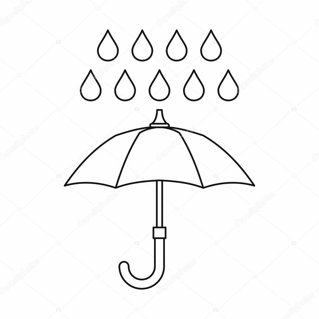1024x1024 Umbrella And Rain Icon, Outline Style Stock Vector Ylivdesign