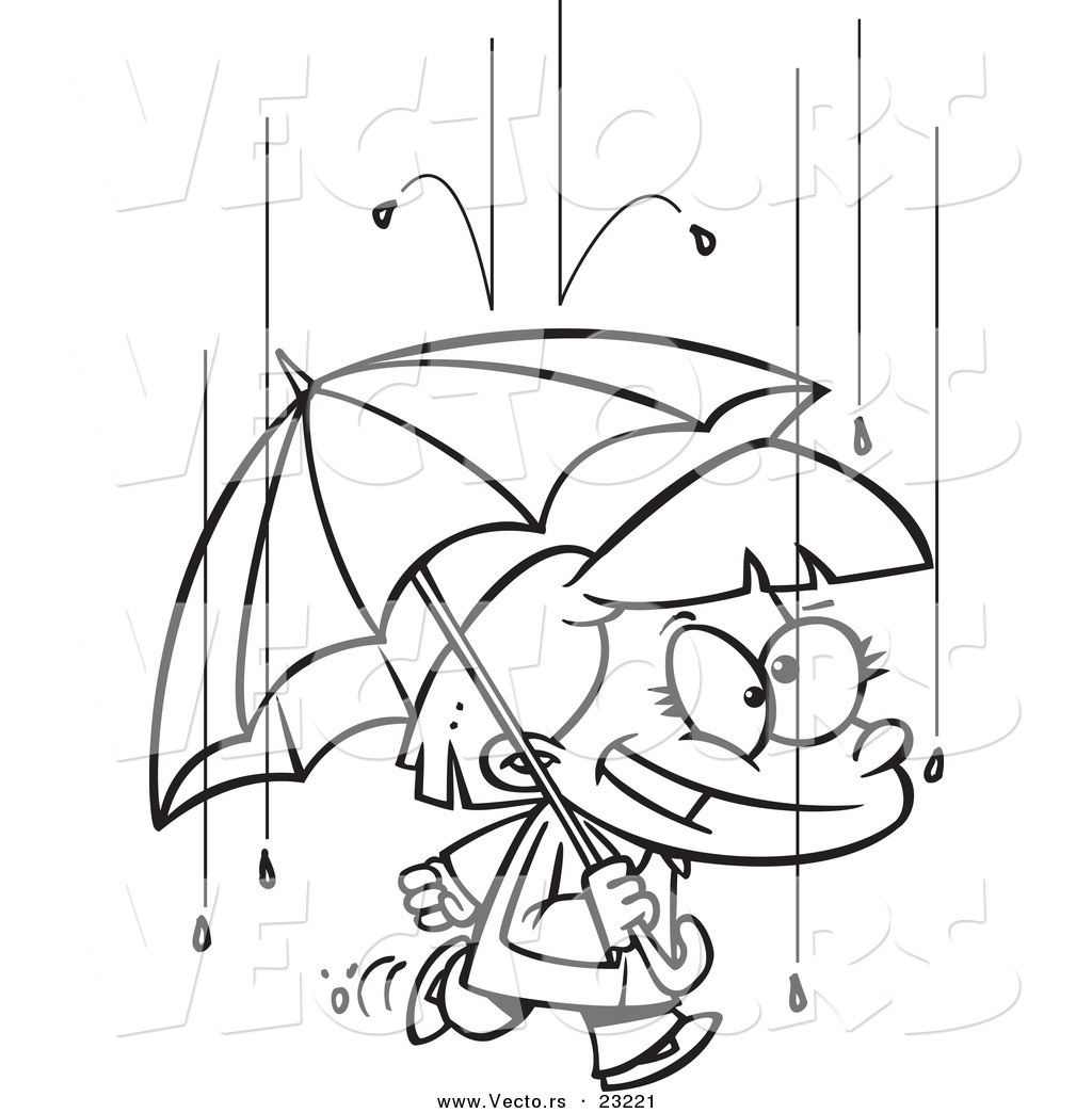 1024x1044 Vector Of A Cartoon Happy Girl With An Umbrella In The Rain
