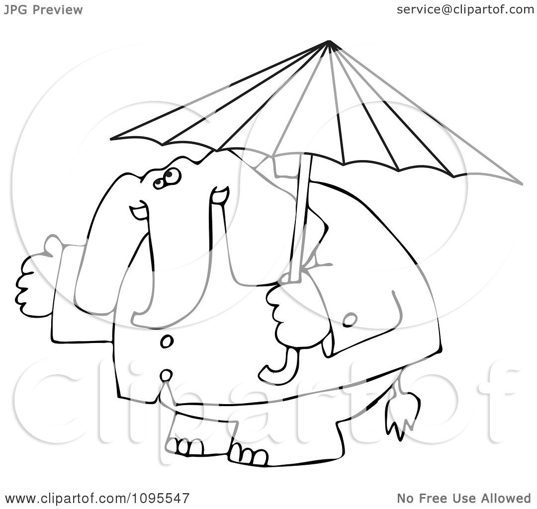 1080x1024 Clipart Outlined Elephant In A Rain Coat Under An Umbrella