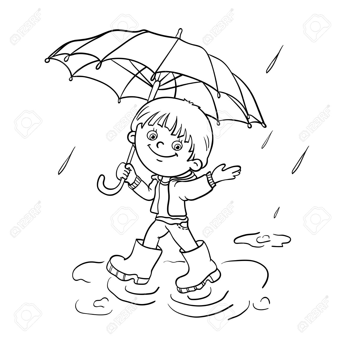 1300x1300 Coloring Page Outline Of A Cartoon Joyful Boy Walking In The Rain
