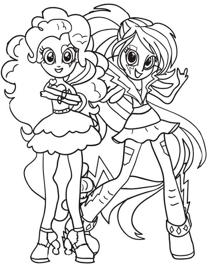 700x900 Equestria Girls Coloring Pages Pinkie Pie And Rainbow Dash