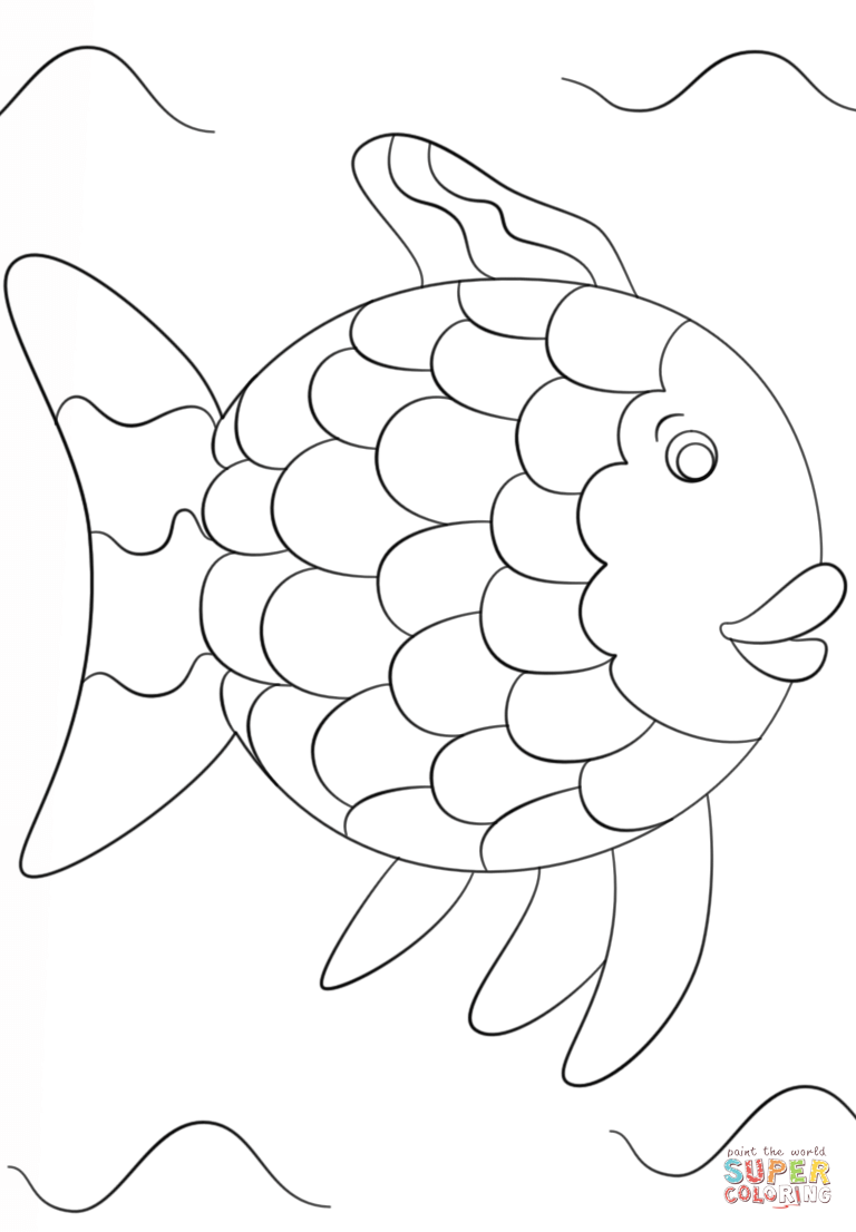 768x1106 Rainbow Fish Template Coloring Page Free Printable Pages