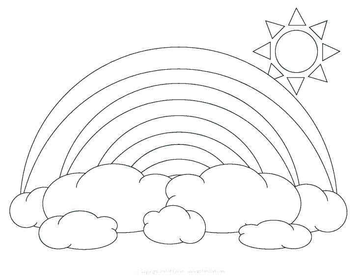735x568 Rainbow Color Pages A Simple Drawing Of Rainbow Behind The Cloud
