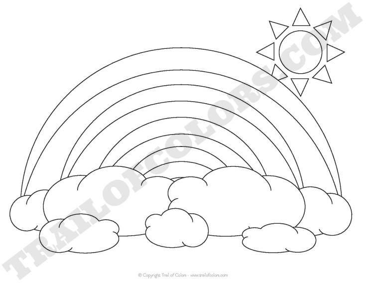 735x568 Rainbow Coloring Page For Kids