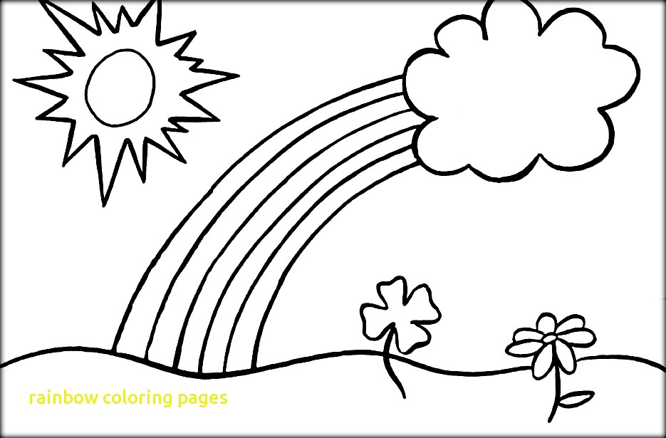935x615 Rainbow Coloring Pages With A Simple Drawing Of Rainbow Behind