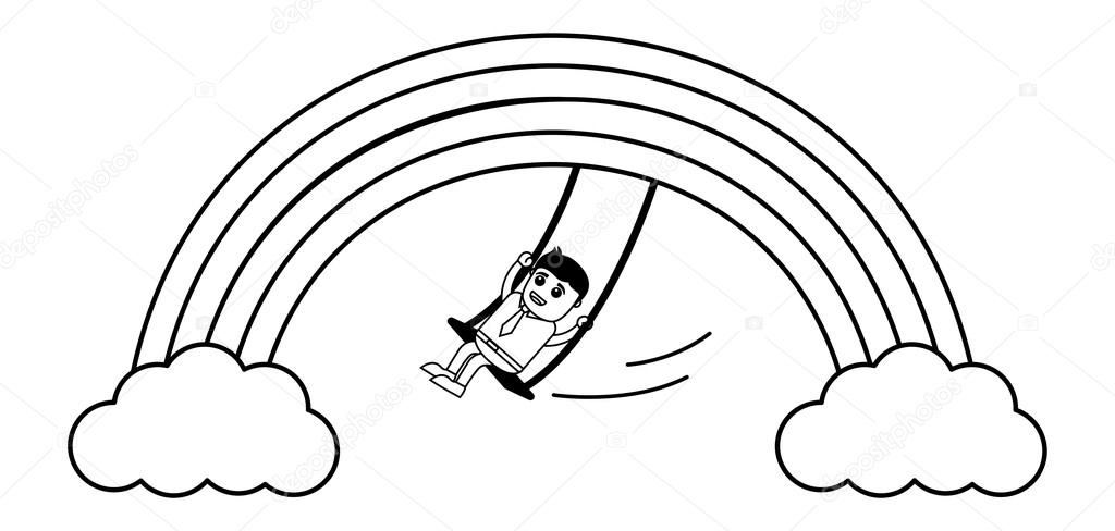1024x488 Man Swinging On Rainbow Vector Stock Vector Baavli