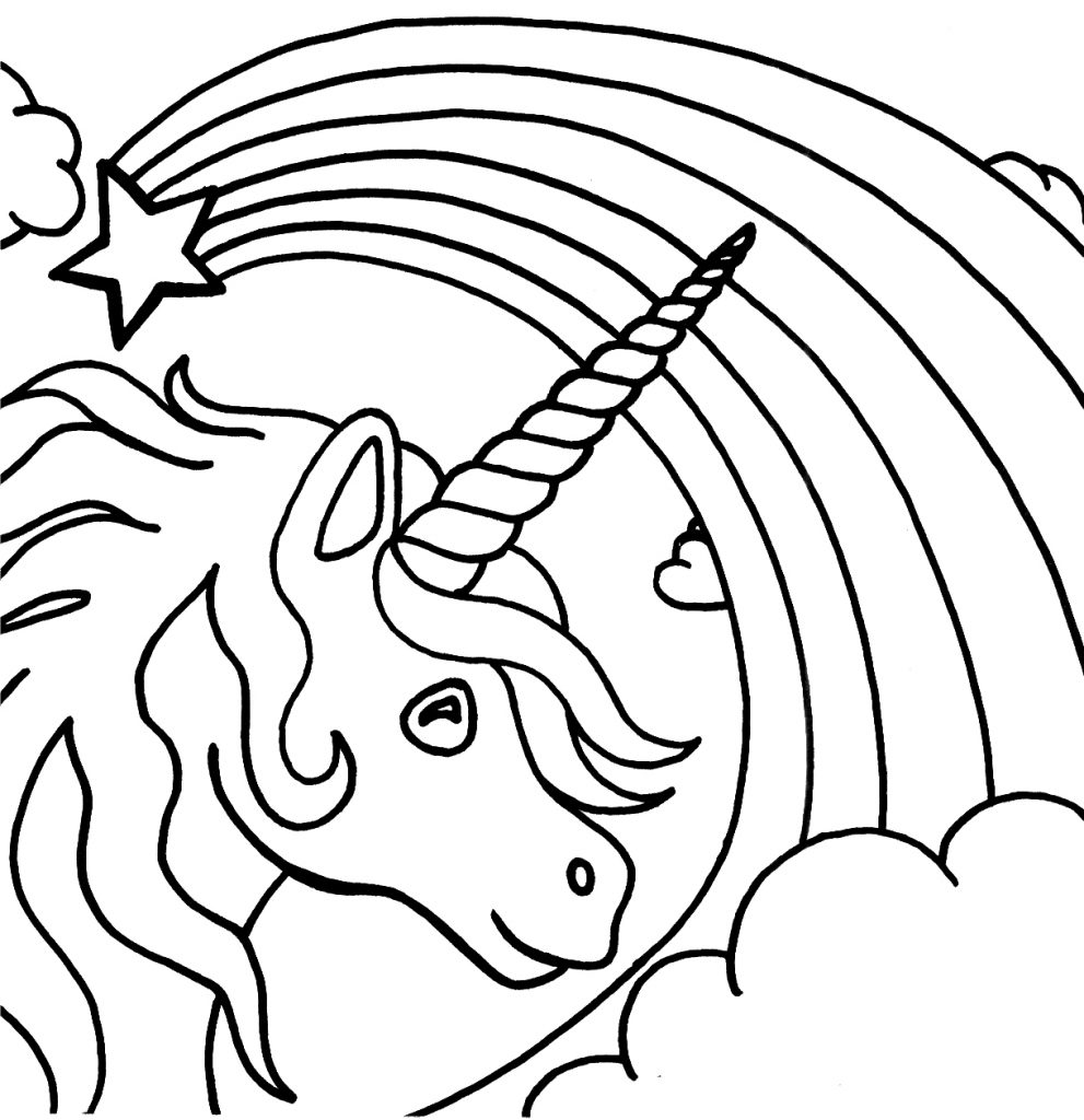 991x1024 Coloring Page Unicorn Horn