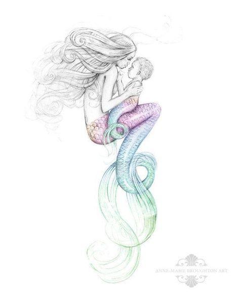474x583 8x10 Inch Print Mother Mermaid And Rainbow Baby Colour Splash